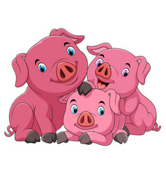 cartoon happy pig mother with piglets vector image