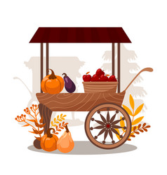 Carts with seasonal vegetables and fruits vector