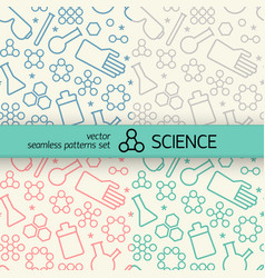 Chemistry seamless patterns set vector