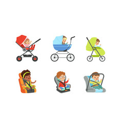 children sitting in bacarriages and booster vector image