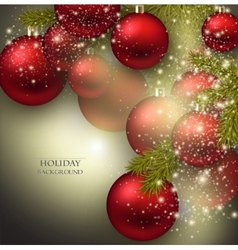 Christmas background with balls Red Xmas baubles vector image