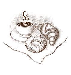 Coffee croissant and donut drawing vector