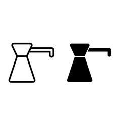 Coffee turk line and glyph icon coffee pot vector