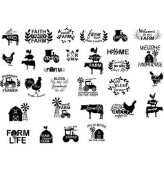 collection farm phrases slogans or quotes vector image