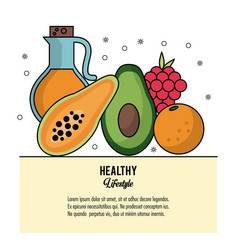 colorful poster healthy lifestyle with set of vector image