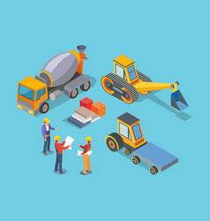 construction machinery concrete mixer workers vector image