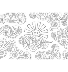 Contour image smiling sun and clouds doodle vector