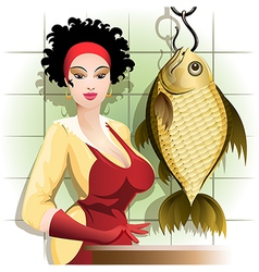 Cooking the fish vector image