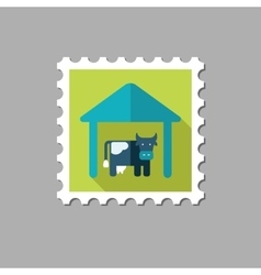 Cowshed flat stamp with long shadow vector image