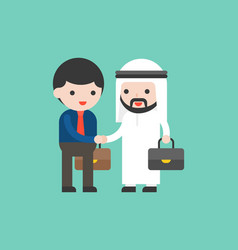 cute arab business man shake hands with business vector image