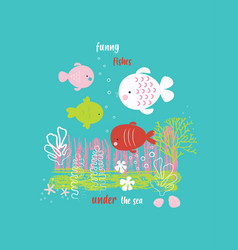 cute ocean cards vector image