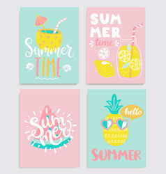 cute set of bright summer cards vector image