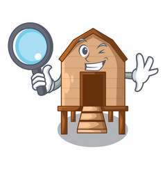 Detective chicken coop isolated on a mascot vector