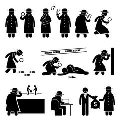 Detective spy private investigator stick figure vector