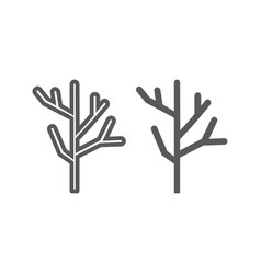 dry wood line and glyph icon tree and lumber vector image