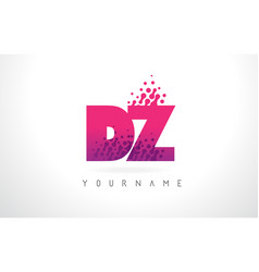Dz d z letter logo with pink purple color and vector