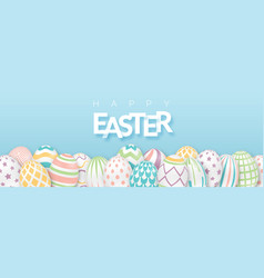 Easter background with text and 3d ornate eggs vector