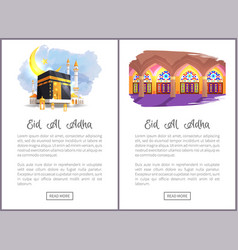 Eid al adha religious holiday web pages templates vector