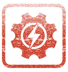 Electric power cog gear framed textured icon vector