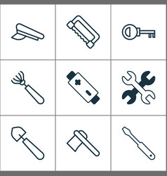 equipment icons set with rake saw battery and vector image