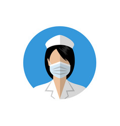Female doctor icon nurse wearing a medical mask vector