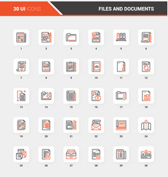 files and documents flat line web icon concepts vector image