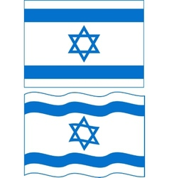 Flat and waving Israeli Flag vector image