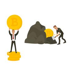 flat bitcoin mining businessman concept set vector image