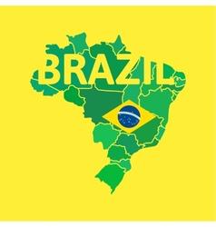 Flat simple Brazil map vector