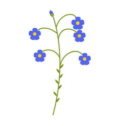Flax blue flower flat icon wild flowers plant vector