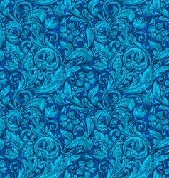 Floral blue ornamental seamless pattern vector image