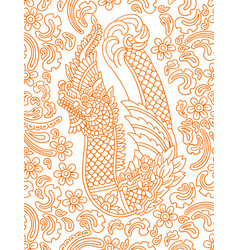 Floral pattern with asian dragon vector