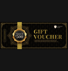 Gift voucher template with golden luxury elements vector