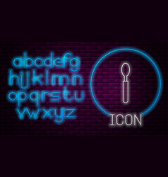 Glowing neon line spoon icon isolated on brick vector