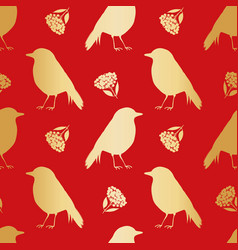 Gold foil robin redbreast berries leaves vector