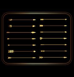 Golden vintage tribal arrows set vector