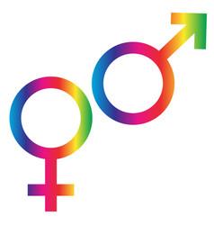 gradient rainbow male female symbols vector image