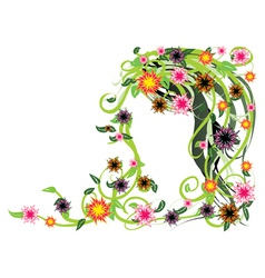 Green floral with flowers vector image