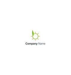 green leaf sun shine organic logo vector image