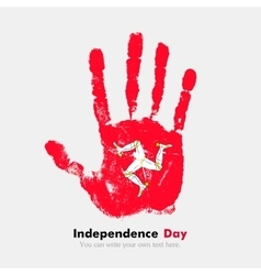 Handprint with the Flag Isle of Man in grunge vector