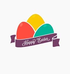 Happy Easter Set of colorful eggs with ribbon for vector