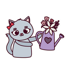 happy valentines day cute female cat with vector image