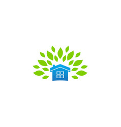 home ecology leaf nature logo vector image