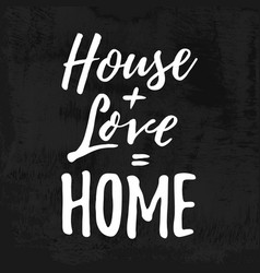 House love home housewarming hand lettering vector