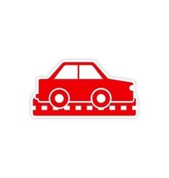 Icon sticker realistic design on paper cars vector