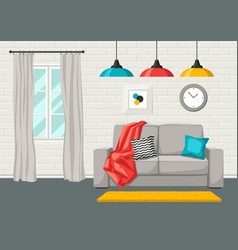 interior living room furniture and home decor vector image