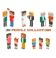 Isometric family couples children kids people vector