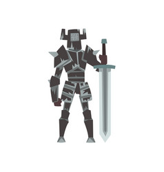 Knight in full body armor suit with sword vector