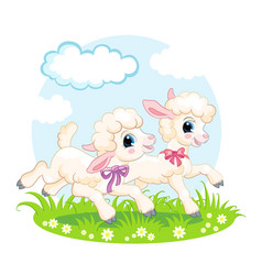 Little cute funny characters white lambs vector