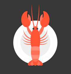 Lobster in dish vector